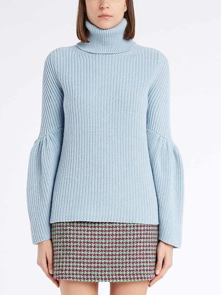 Turtleneck sweater with full sleeves - blau