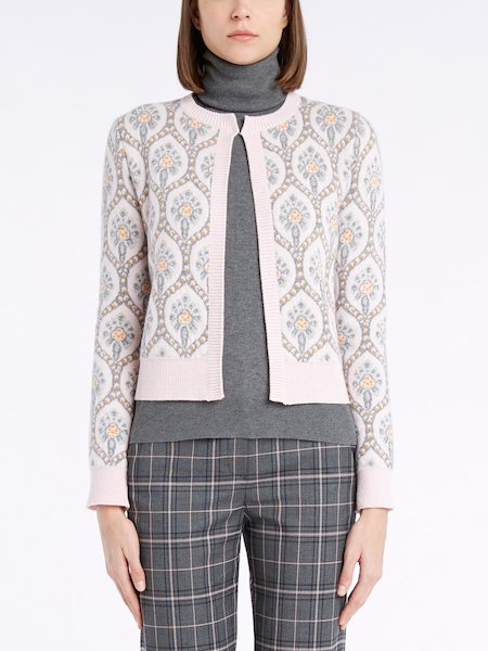 Mandarin collar sweater with long sleeves - pink
