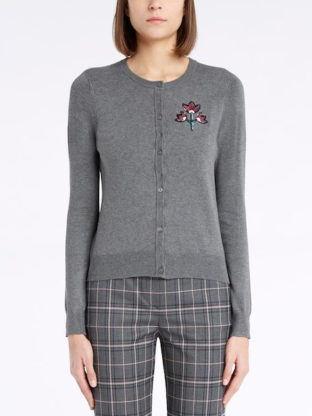 Sweater with mandarin collar featuring sequinned flowers
