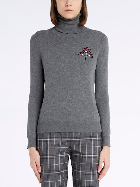 Turtleneck sweater with sequinned flowers - Grey