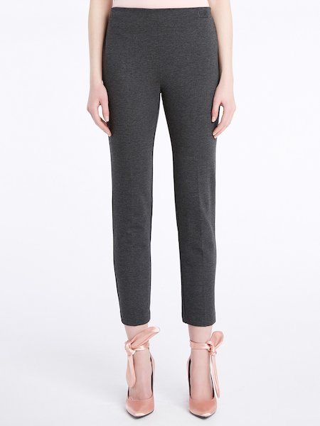 Cropped cigarette-leg trousers - Grey