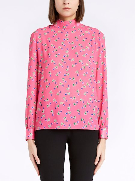 Floral-print blouse with bow - Fucsia