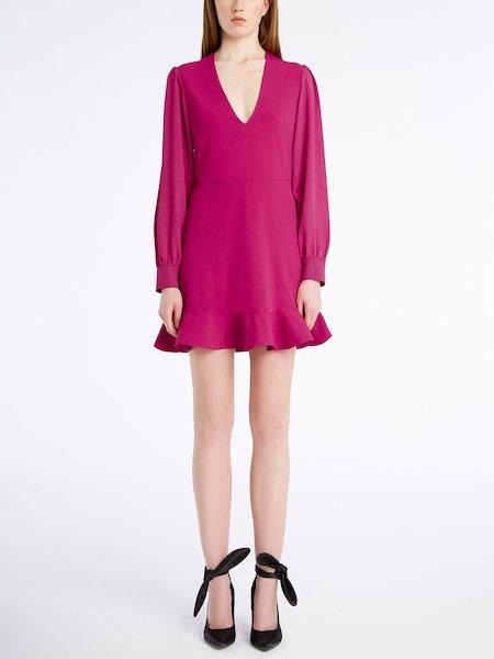 V-neck dress with flounce - rosa