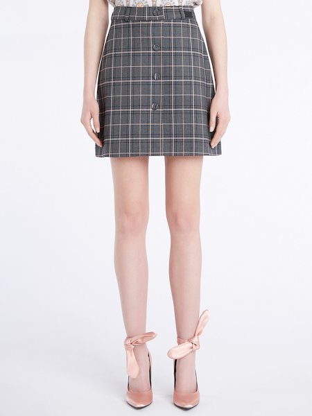 Glen Plaid miniskirt with buttons - Grey