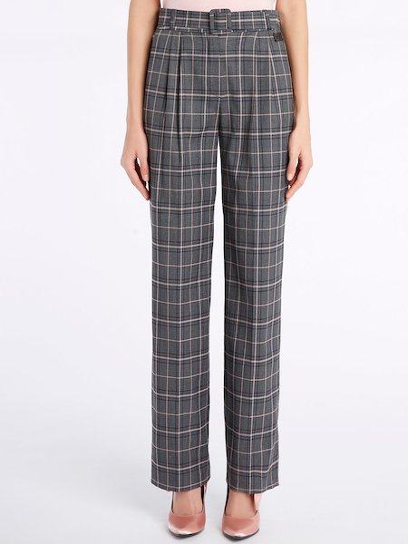 Roomy Glen Plaid trousers with belt - Grey