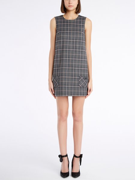 Sleeveless Glen Plaid dress - Grey