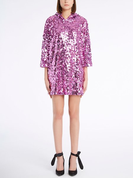 Sequinned dress with three-quarter length sleeves - розовый