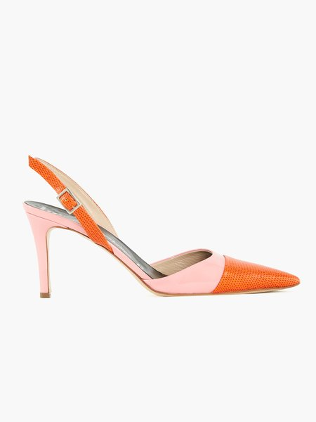 Two-tone pumps in patent leather and printed leather