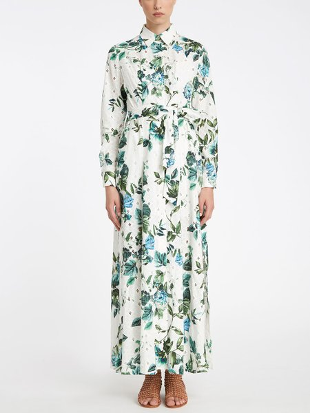Long shirt-dress in floral print broderie anglaise