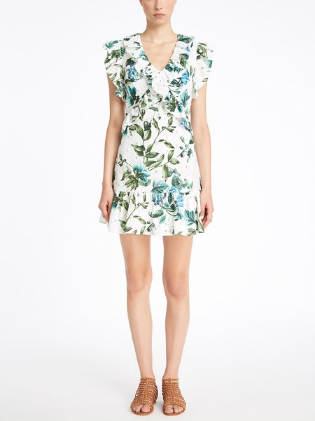 Dress in floral print cotton broderie anglaise
