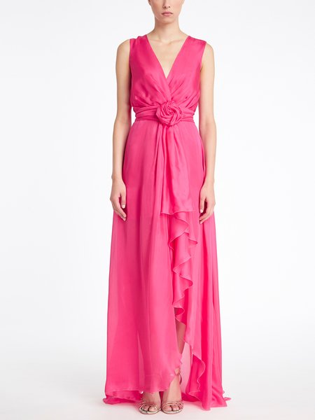 Long silk dress with rose and ruffle - fuchsia