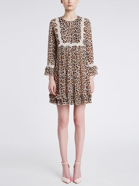 Dress in animalier-print silk with lace - beige