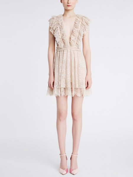 Lace dress with ruffle and frill