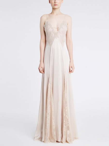 Long silk dress with lace - pink