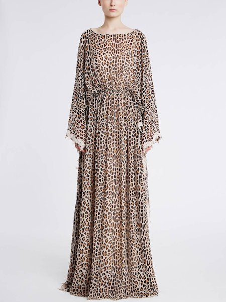 Long dress in animalier print silk