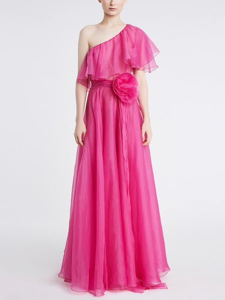 Long single-shoulder dress with rose