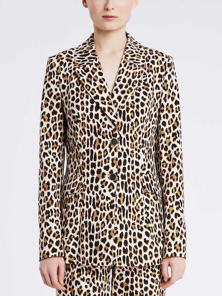 Single-breasted animalier print jacket