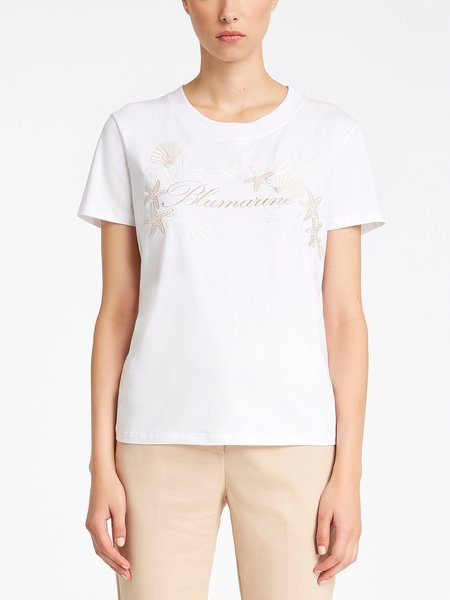 T-shirt in cotton jersey with embroidered logo - white
