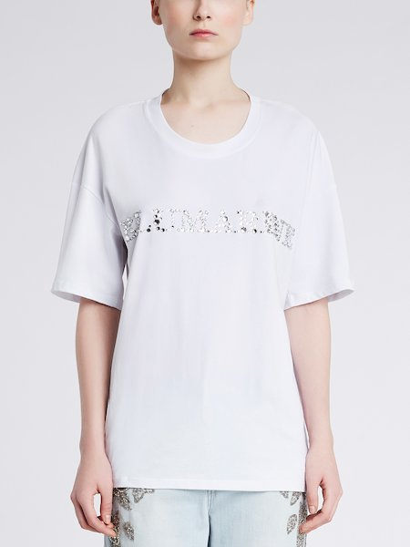 Cotton T-shirt with rhinestones