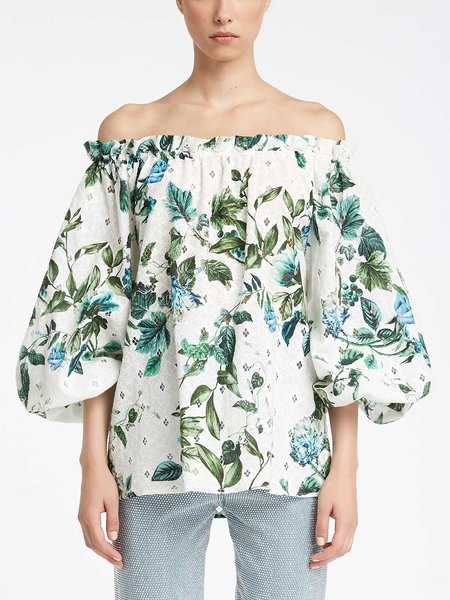 Blouse in floral print broderie anglaise