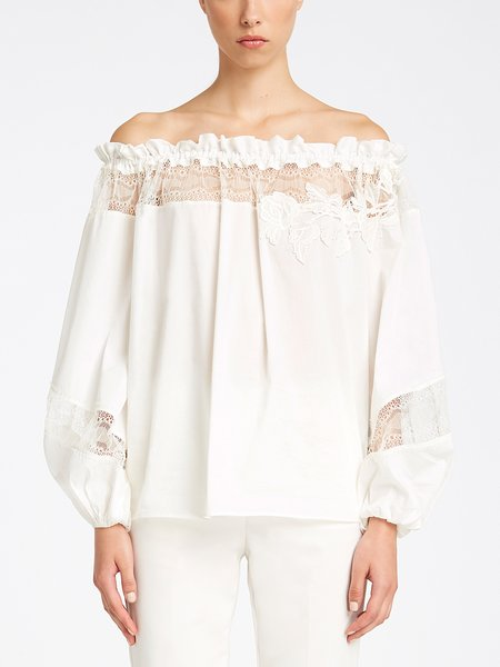 Blouse with lace and embroidery - white