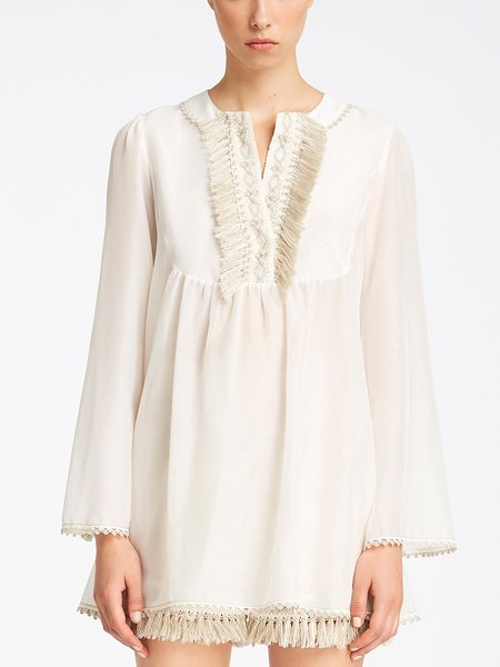 Long-sleeved blouse with embroidery and fringe - white