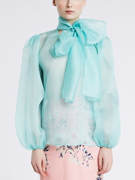 Silk blouse with bow - Light Blue