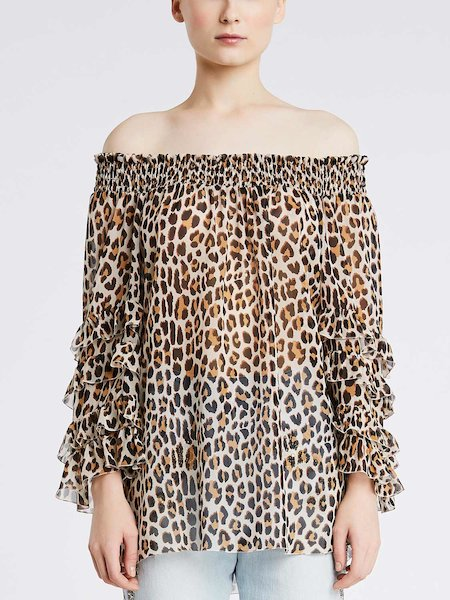 Blouse in animalier-print silk - beige