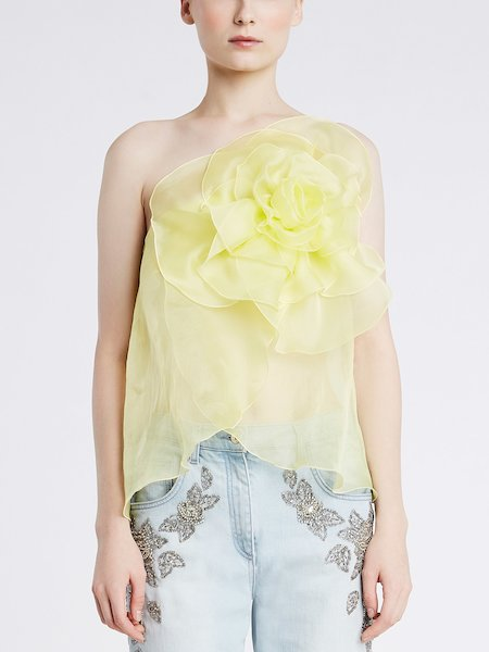 Single-shoulder top in silk with a rose