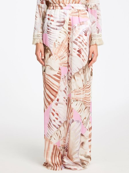 Wide-leg trousers in shell-print silk - white