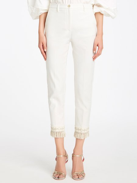 Cropped trousers with fancy trim and fringe