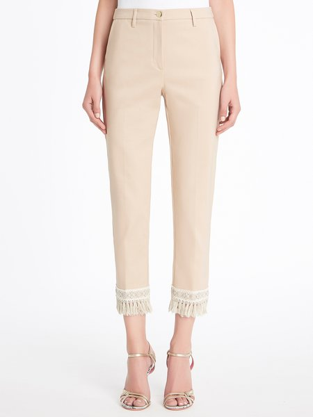 Cropped trousers with fancy trim and fringe - beige