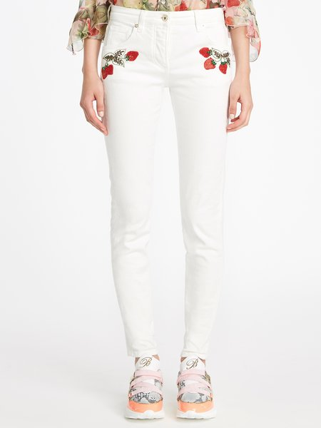 Five-pocket jeans with embroidery - white