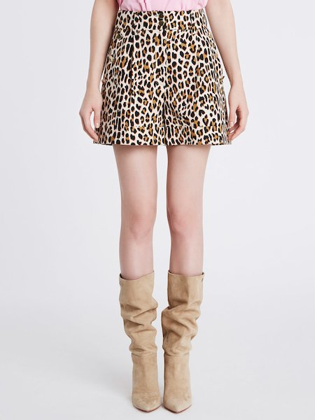 Shorts in Cotone Stampa Animalier