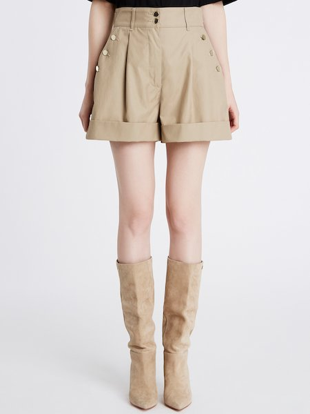 Shorts in Canvas Con Risvolto