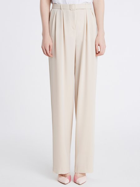 High-waisted trousers with belt - pink