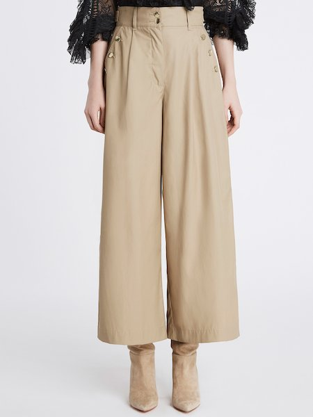 Cropped canvas trousers