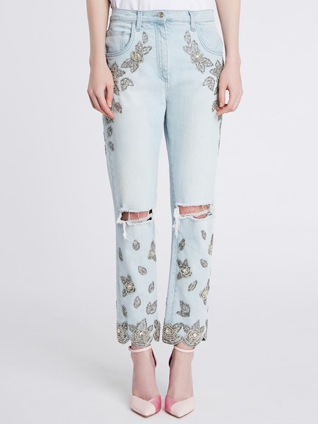 Jeans Destroyed Con Ricamo Strass e Jais