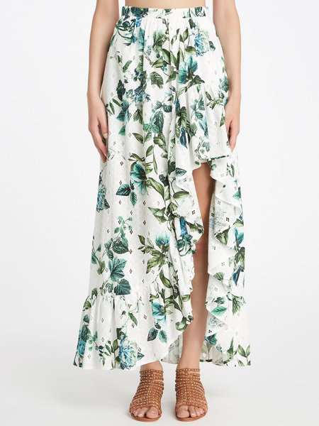 Long skirt in floral print broderie anglaise