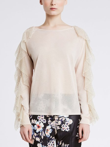 Sweater with rhinestone embroidery frill - beige