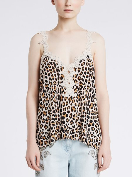 Knit top featuring animalier print - beige