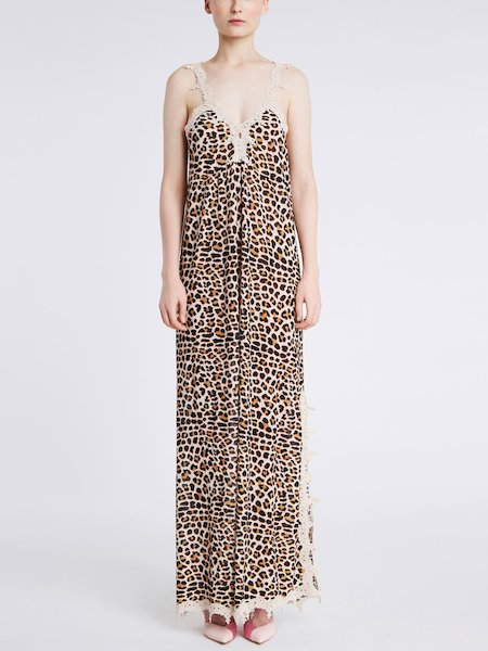 Long dress featuring animalier print - beige