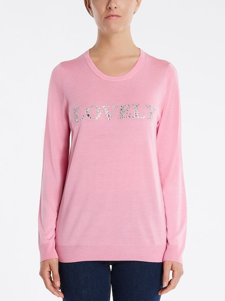 "Sweater with ""LOVELY"" rhinestone embroidery - pink"