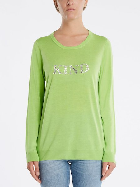 "Sweater with ""KIND"" rhinestone embroidery - Green"