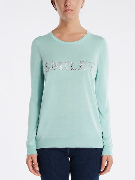 "Sweater with ""SMILEY"" rhinestone embroidery - bleu"
