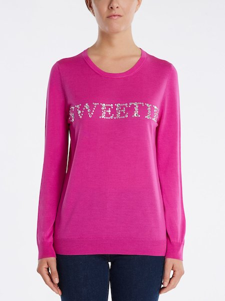 "Sweater with ""SWEETIE"" rhinestone embroidery"