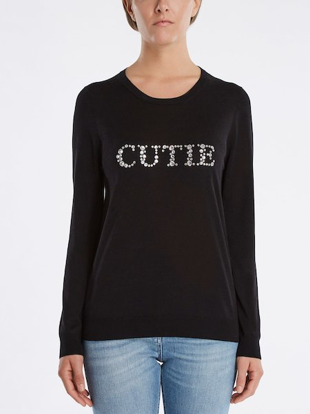 "Sweater with ""CUTIE"" rhinestone embroidery"