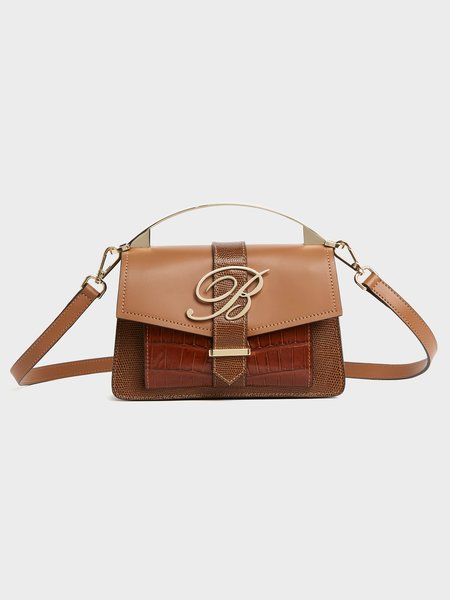 Hand-held bag with logo and shoulder strap - Brown