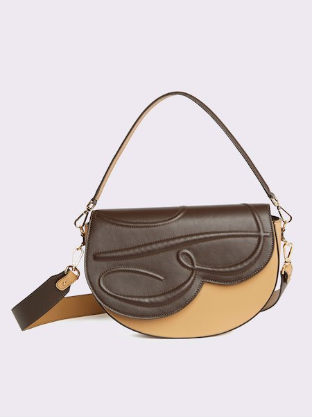 Big two-tone handbag with embossed logo