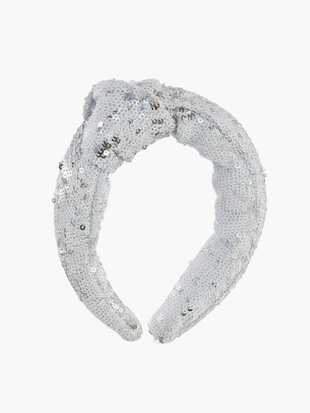 Hairband with sequined embroidery and knot